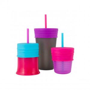 Vasos Con Tapas Y Sorbitos Fucsia – Boon