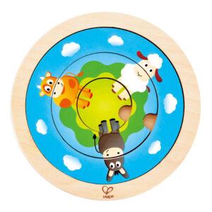 Puzzle Spinning Doble Granja 4 Piezas – Hape
